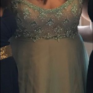 Light Blue/Tan Strapless Prom Dress